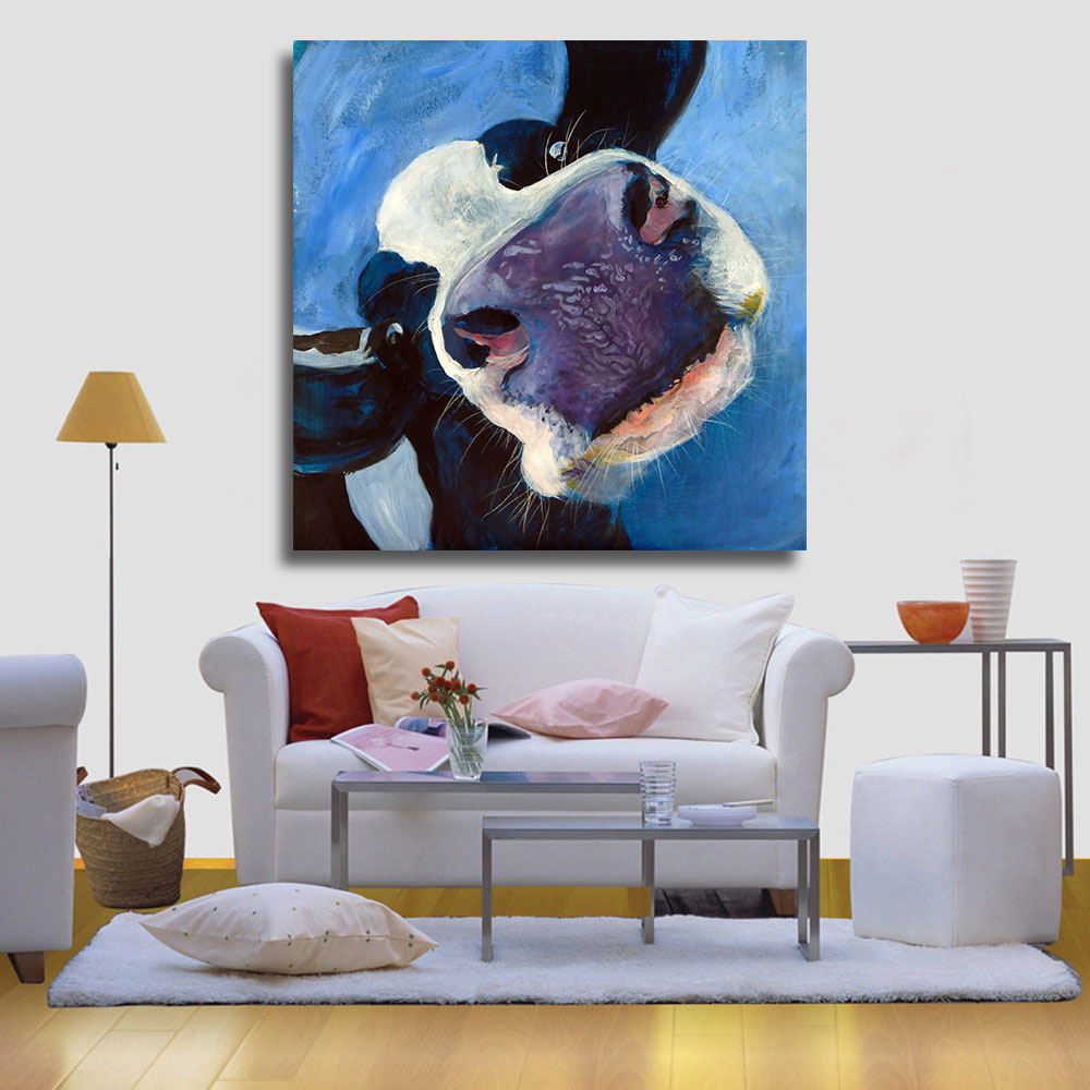 Aliexpress Com Buy Hdartisan Wall Canvas Art Pictures: HDARTISAN Wall Printed Funny Holstein Cow Head Animal Oil