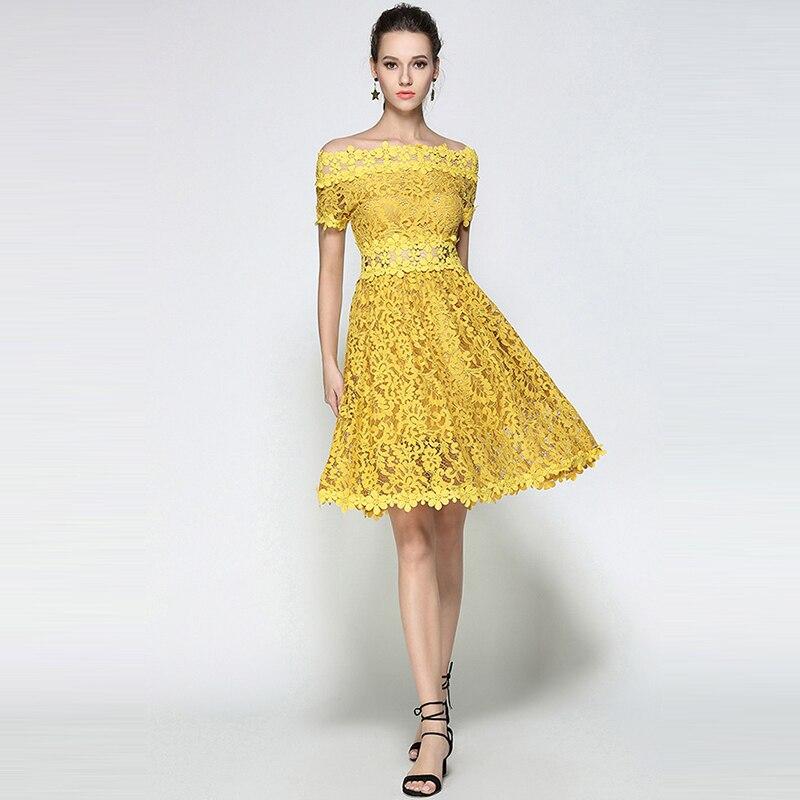 Willstage դեղին ժանյակավոր զգեստ Կանանց - Կանացի հագուստ - Լուսանկար 2