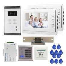 "ENVÍO LIBRE 7 ""LCD Sistema de Videoportero De Intercomunicación 2 Monitor + Cámara 700tvl Al Aire Libre para 2 Casa De Control RFID + Huelga Lock"