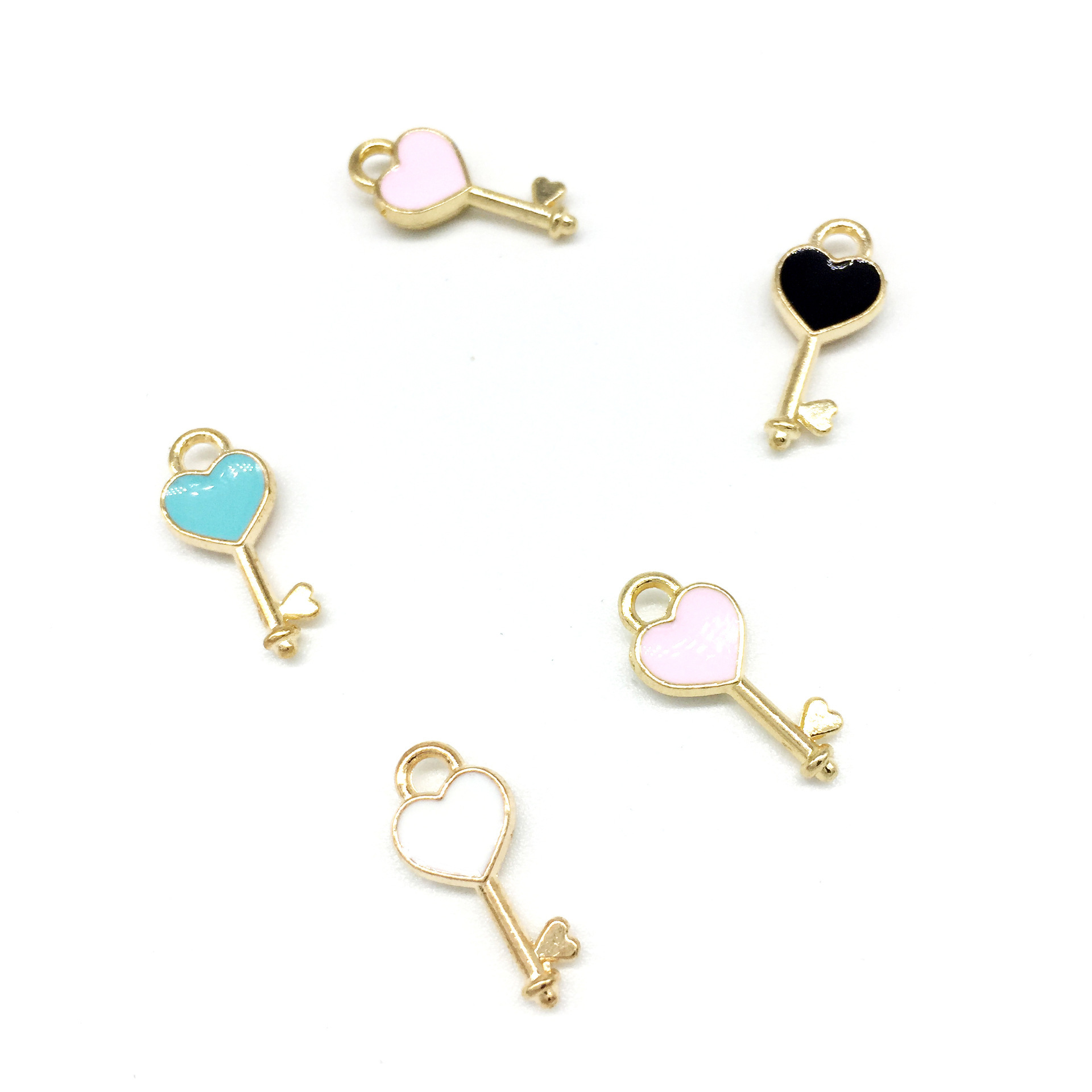 30pcs/lot New 7*16mm Heart Shape Key Enamel Pendant Carousel Charms for DIY Bracelet Necklace