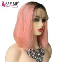 1B/Pink Dark Roots Ombre Lace Front Human Hair Wigs For Black Women Remy Short Bob Middle Part European Hair Wigs Pre Plucked