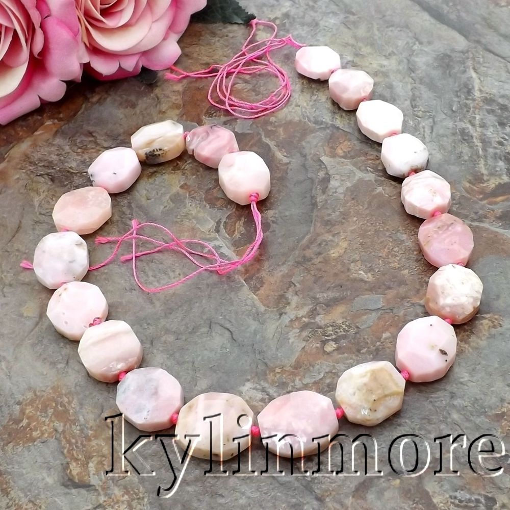 8SE11126 9x17mm Natural Pink Opal Faceted Nugget Loose Beads 16 Strands