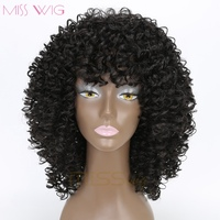 MISS WIG 20Inch Long Kinky Curly Short Wig For Black Women 300g Natural Hair Wigs Afro