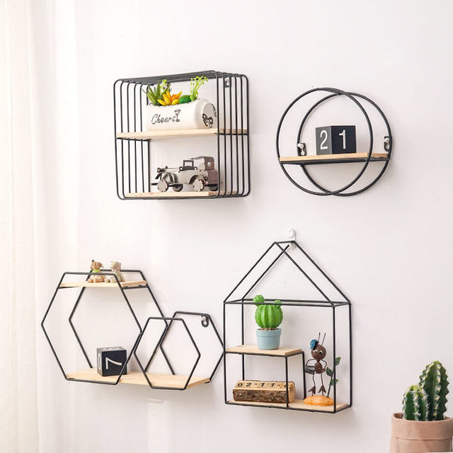 Nordic Iron Storage Rack Shelf Wall Hanging Ornaments Geometric Figure Home Wall Decoration Sundries Key Flower Pot Album Holder
