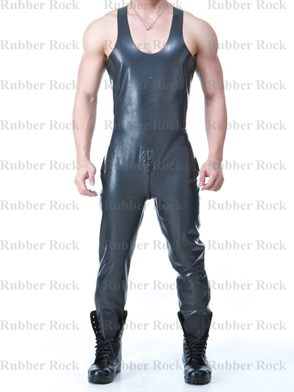 Buy Nature Latex Catsuits Back Crotch Zipper Sleeveless Rubber Jumpsuit Latex Overalls Male