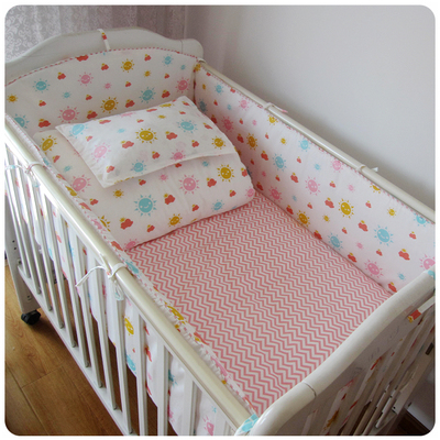 Promotion! 9PCS Whole Set Baby Crib Cot Bedding Set Baby Bumper Sheet Duvet,4bumper/sheet/pillow/duvet