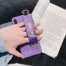 Cute Cartoon Pig Mobile Shell Wrist Strap rope Anti-knock Anti-fall for IPHONE Xs Max X/Xs/Xr/6s/6G-7/8plus Half-wrapped Case