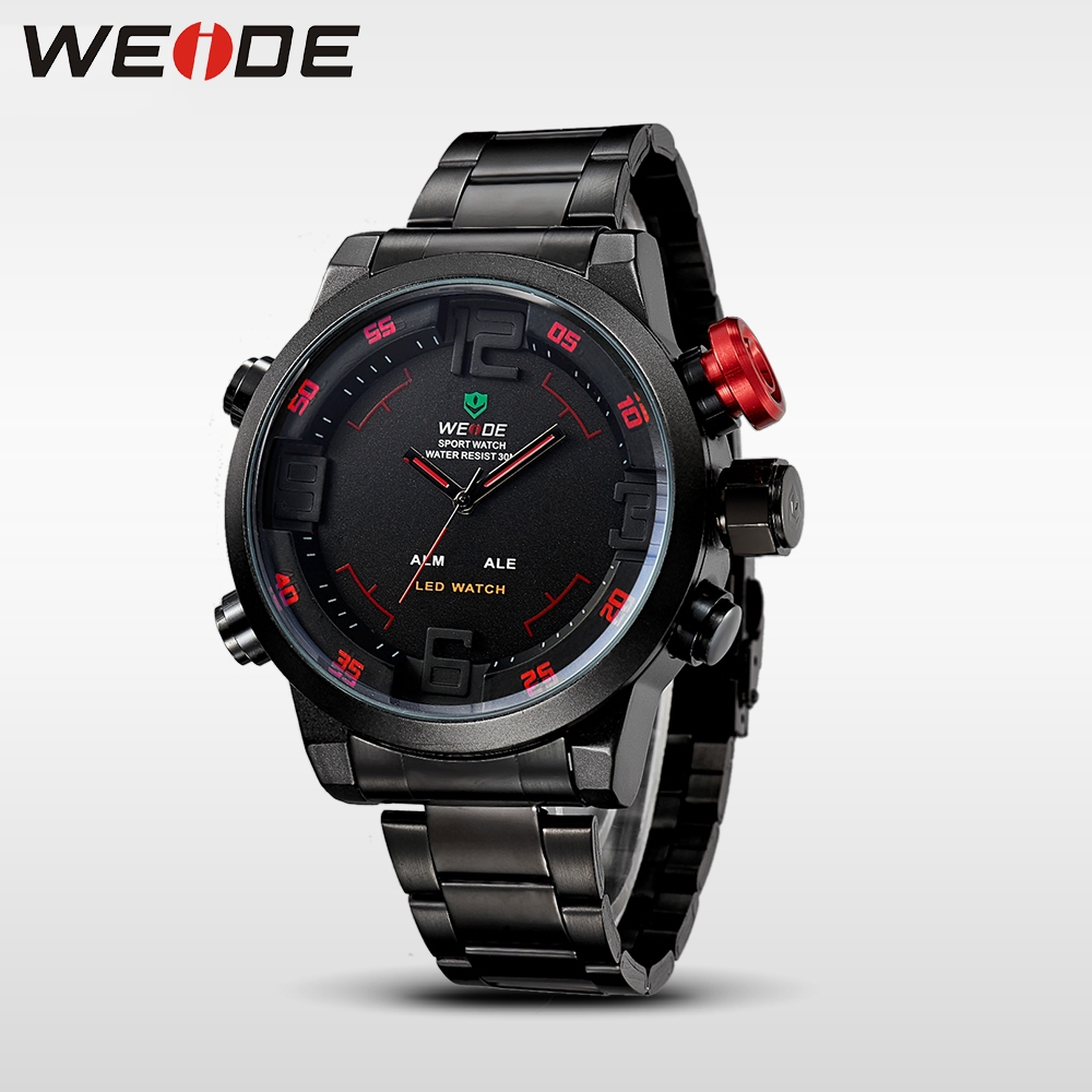 0db8be53f0 WEIDE Mens Sports Watches Top Brand LED Analog Digital Display 3ATM  Waterproof Army Military Full Stainless Steel Wrist Watch-in Quartz Watches  from Watches ...