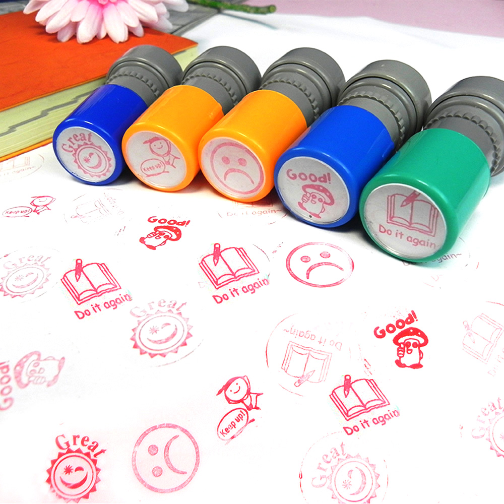 5pcs Teacher Stampers Self Inking Student Evaluation Stamp Praise Reward Stamps  Motivation Sticker School