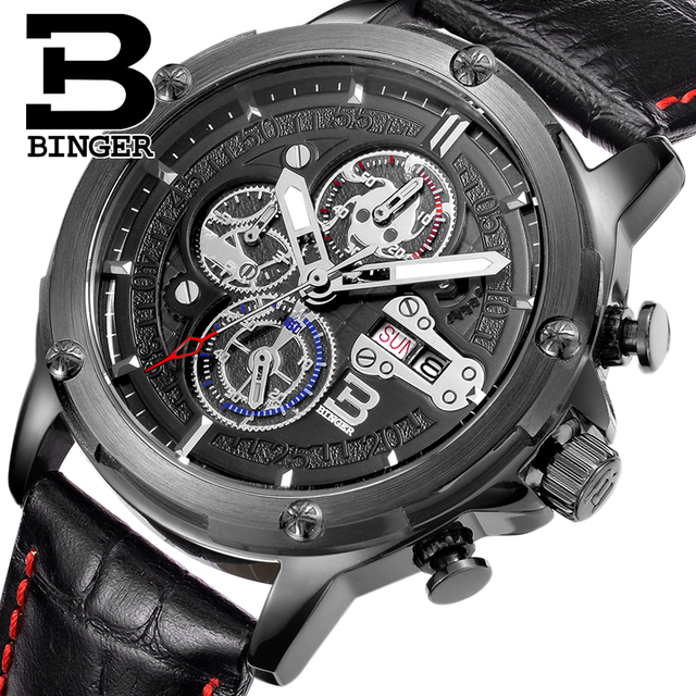 Mens Watches Top Brand Luxury Chronograph Sports Switzerland BINGER Luminous Watches Men Quartz Military Watch Waterproof  2017