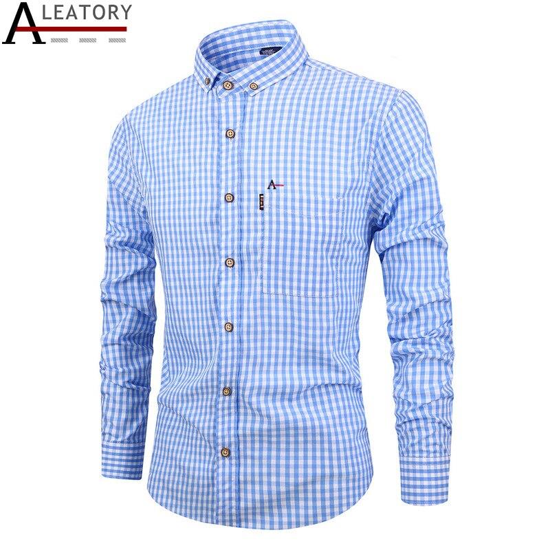 ALEATORY aramy autumn spring Men's casual cotton long sleeve camisa social masculina dress shirt men Striped xadrez roupas