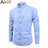 ALEATORY aramy autumn spring Men's casual cotton long sleeve camisa social masculina dress shirt men Striped xadrez roupas