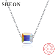 SHEON Authentic 925 Sterling Silver Simple Trendy Square Crystal Pendant Necklaces For Women Fashion Jewelry