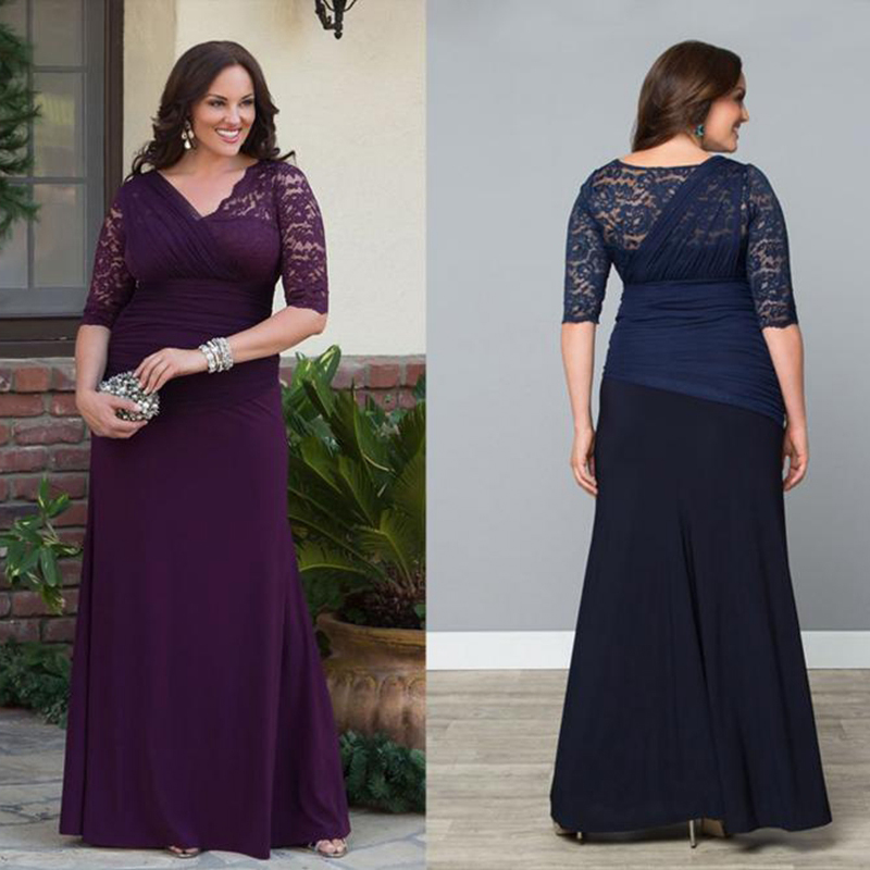 Elegant Long Lace Plus Size Evening Dresses Party With Sleeves A