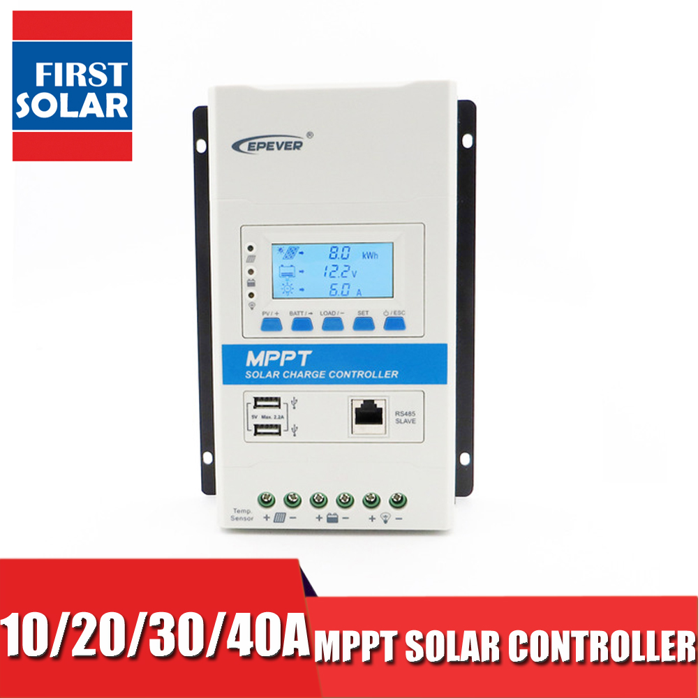 24 12VDC 10A 20 30A 40A TRIRON Series Modular MPPT Solar Charge Controller Battery Charger Regulator backlight DS2 UCS USB Port