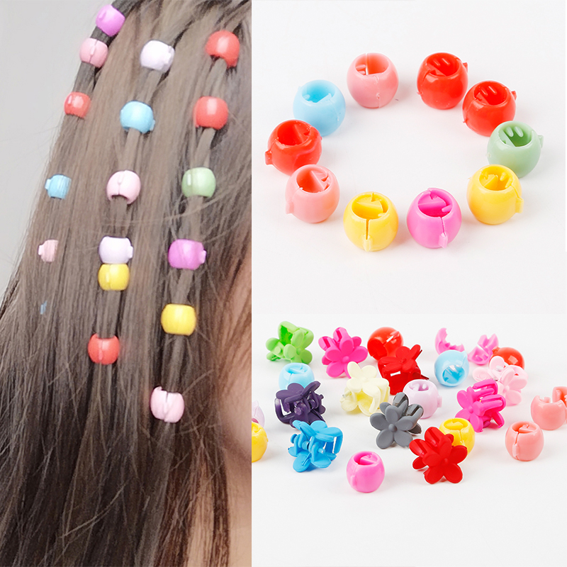 10Pcs/Lot Small Randomly Cute Candy Color Girls Hair Ring Clips Flower Hair Jaw Clip Children Hairpin Hair Styling Accessories