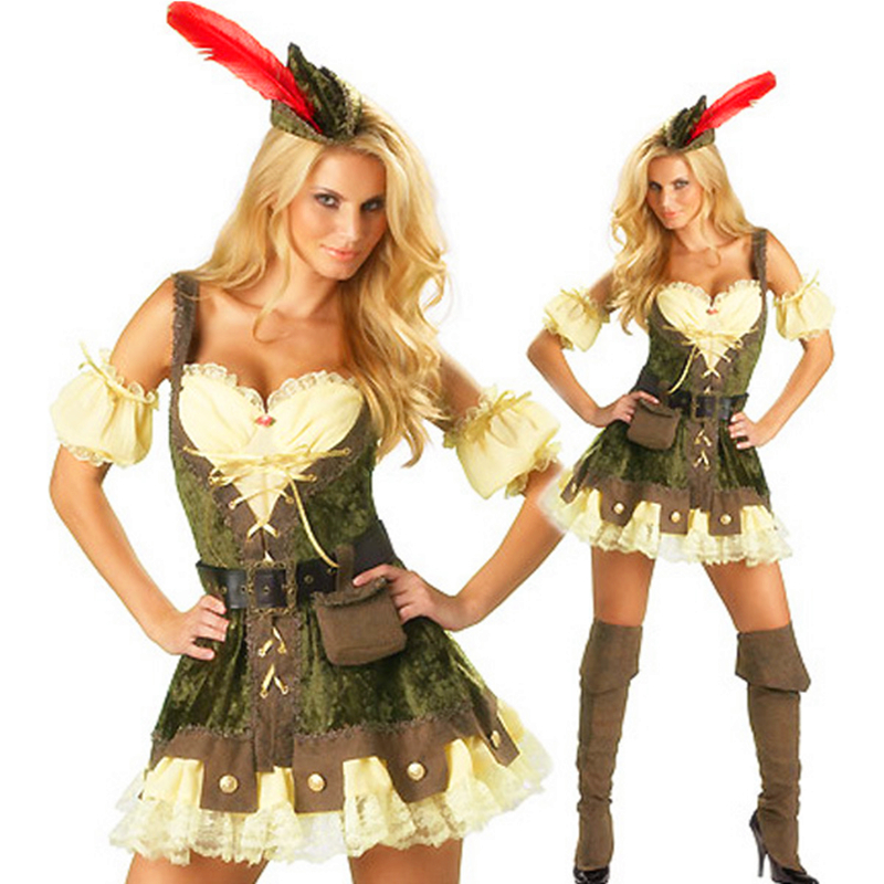 Hot Sales Sexy Robin Hood Adult Costume Deluxe High Quality Adult Womens Magic Moment Costume Halloween Fancy Dress