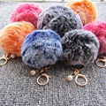 8cm Fur Pom Pom Keychain-Double Colors Gold Key Ring Simulation Rabbit Fur Ball Key Chain with Pearl Car Key Women Bag Pendant