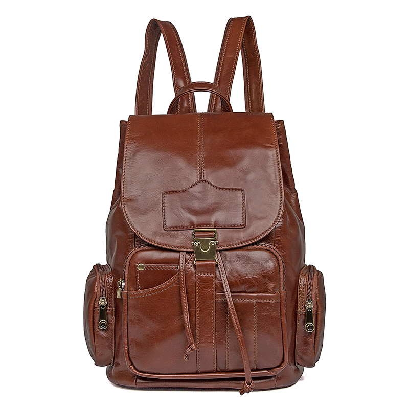 J.M.D Imported Top Layer Cow Leather School Backpack Large Capacity Shoulder Bag For Teenager Classic And Fashional Bag 7287B