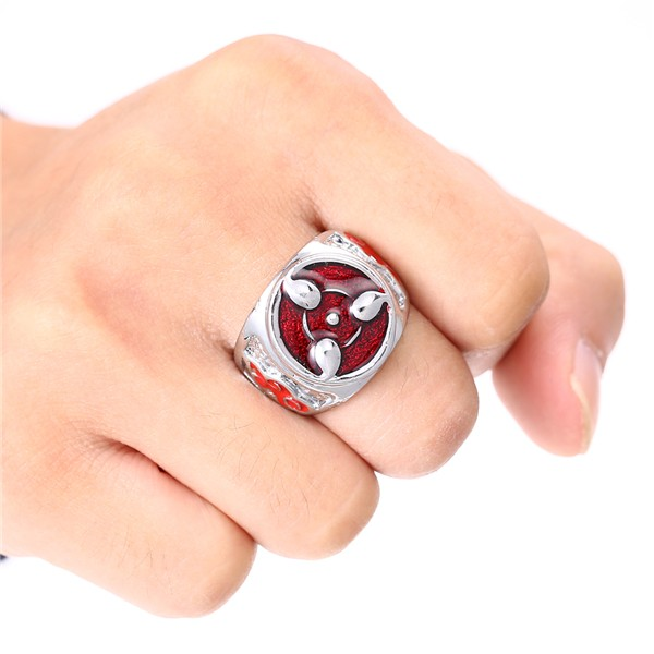 Top sale Hot Anime Naruto red Sharingan Rings antique silver plated rings cosplay jewelry man accessories