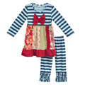 Fashion Fall Children Clothing Winter Cotton Swing Top With Bow Kids Stripes Ruffle Pants Boutique Toddler Girls Outfits F052