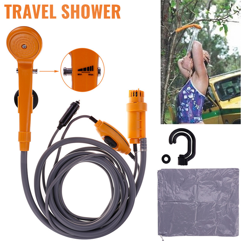Free Delivery 12V Electric Car Plug Outdoor Camper Caravan Van Camping Travel Shower Portable(China)