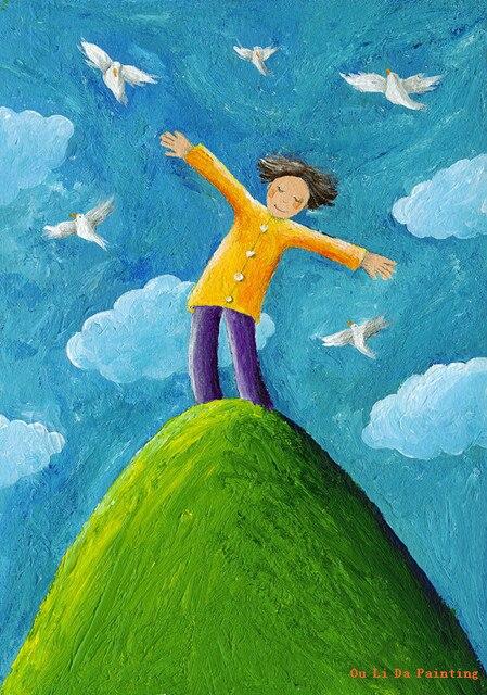 Free Shipping Cartoon Figure Boy Buly Sky Bird Oil Painting Canvas