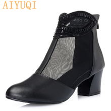 AIYUQI 2019 summer new Genuine leather woman ankle boots cool Mesh splicing solid breathable female shoes med heel