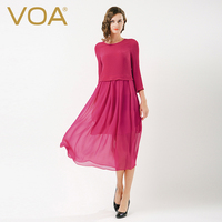 VOA Plus Size Silk Georgette Dress Vintage Red Fake Two Set Brief Solid High Waist Slim Casual Women Midi Dress Spring A6566