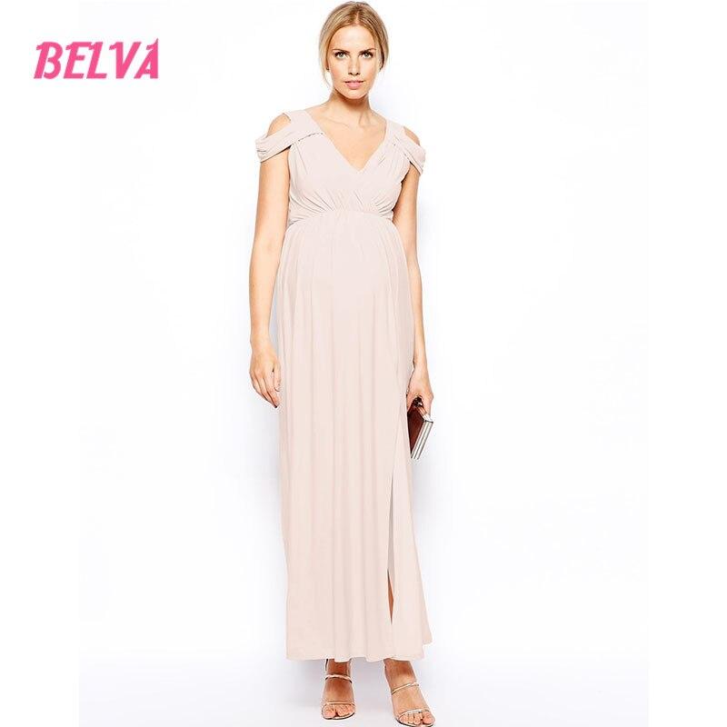 все цены на Belva 2017 Long Maternity Gowns Cold Shoulder Cut Out Evening Dresses Party Ultra Soft Pregnancy Bamboo Fiber Summer 497591