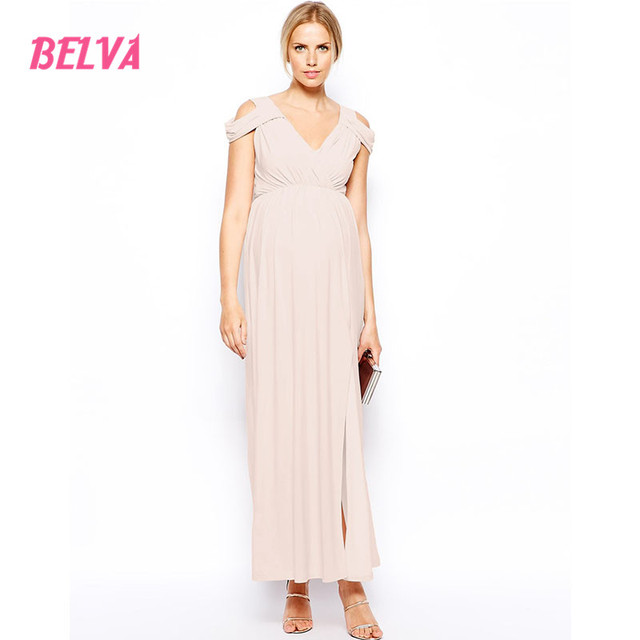 Belva 2017 Long Maternity Gowns Cold Shoulder Cut Out Evening ...