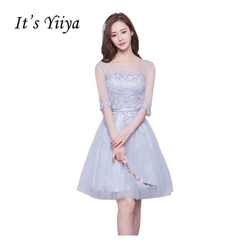 It's YiiYa Half Sleeve O-Neck A-line   Bridesmaid     Dresses   Flower Knee-length Pattern Embroidery Elegant Iluusion Tulle Frocks X158