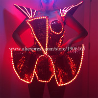 LED Lady Sexy Clothing Luminous Flashing Women Dress Costumes Suits Party Dance Accessories Event Party Supplies