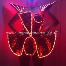 Светодиодный леди пикантные Костюмы световой мигающий женское платье костюмы Костюмы для танцев Интимные аксессуары событие для вечеринок