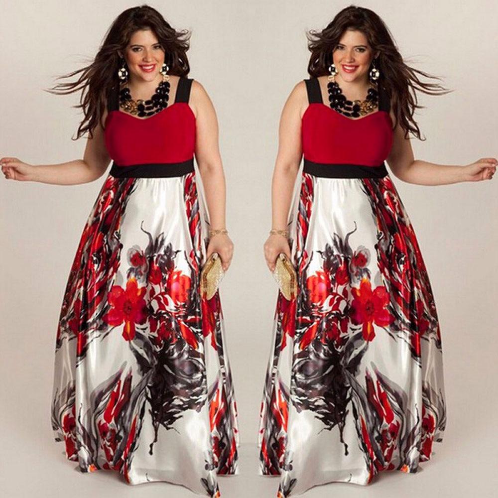 c1c5adc6924 2018 Hot Sales Women Spaghetti strap dress Floral Printed V-neck  Summer Autumn Maxi Dress Plus