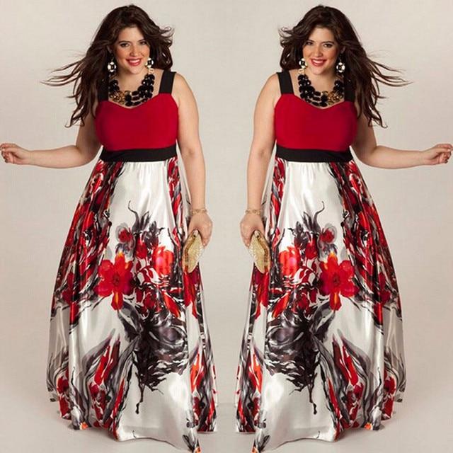 fb5c7341284 Plus Size 5XL Floral Print Cold Shoulder Maxi Beach Dress Women Dark Blue  Boho Casual Sexy Long Dress autumn 2017 vestidos-in Dresses from Women s  Clothing ...