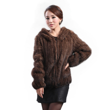 New mink fur coat women's long-sleeve top fashion all-match Mink knit jacket mink knitted coat Free shipping