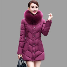 New Middle-aged Winter Jacket Thicken Big Fur Collar Hooded Down Cotton Jacket Big Yards Women Padded Coat Slim Long Parka A2011