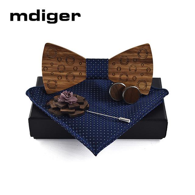 Mdiger Wooden Bow Tie Lapel Pin Cufflinks Necktie Wedding