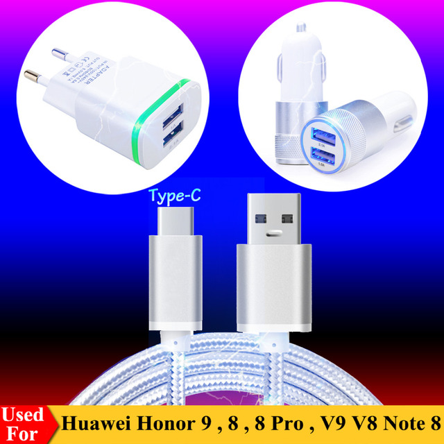 US / EU AC Plug Charger, Dual USB Car Charger for Huawei Honor 10 9 8 Pro V10 V9 V8 P9 P10 Plus P20 Lite Type C Charging Cable