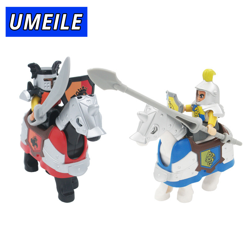 UMEILE Brand Warfare Rome Knight Armor Weapon Horse Soldier Shield Large Particle Block Brick Set Toys Compatible with Duplo 2018 new brand animal large particle