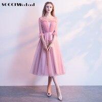 SOCCI Weekend Pink Elegant Bridesmaid Dress 2018 Half Flare Sleeves Women Formal Wedding Party Dresses For