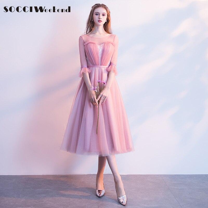 SOCCI Weekend Rosa vestido de dama elegante 2018 media mangas de ...