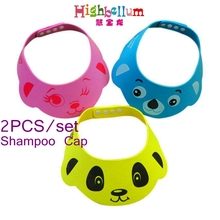 2Pcs Resizable Babies Shampoo Cap Cute Character Printed Bath Shower Bathing Protect Soft Cap