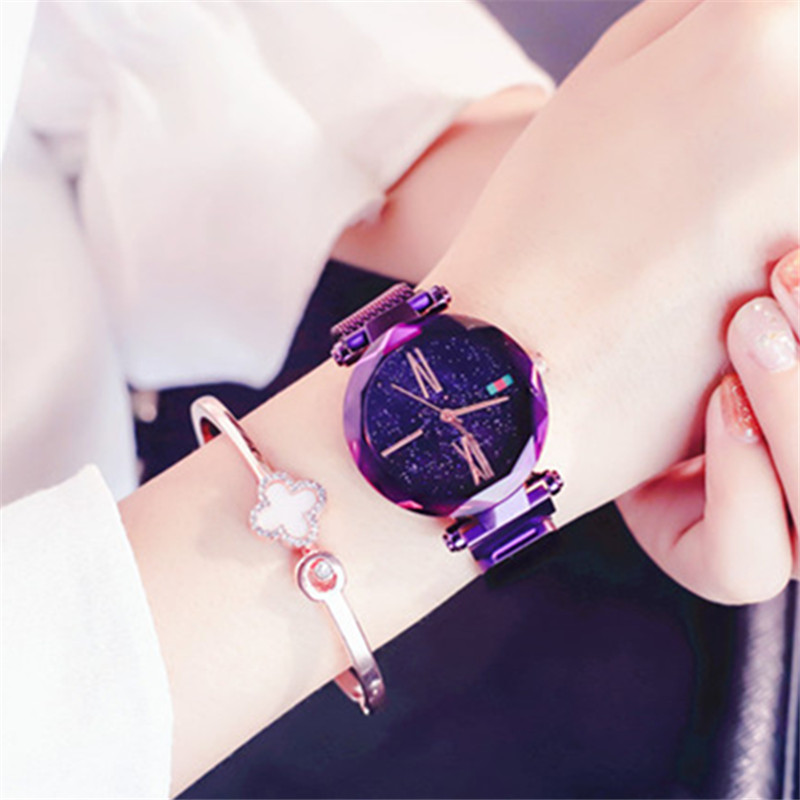 Relojes de lujo rosa púrpura para mujer minimalismo cielo estrellado imán  hebilla moda Casual mujer reloj de pulsera a prueba de agua reloj femenino 583957691998