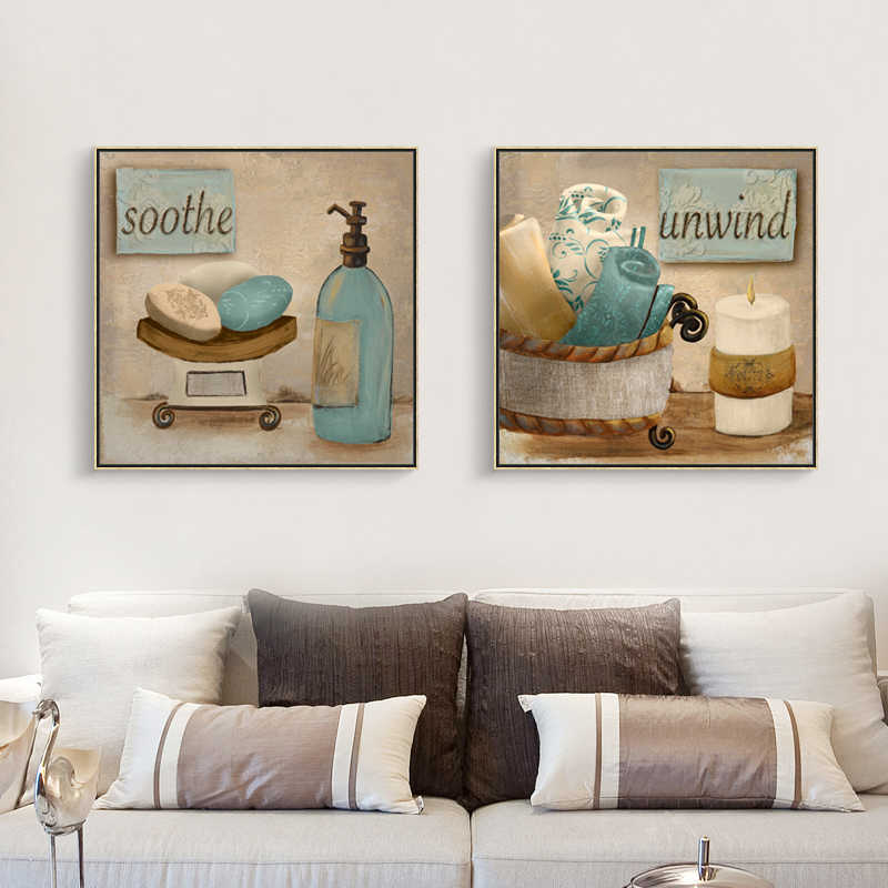 2 piece canvas soft Impressionism art simple life art Retro Bathroom decor wall picture home modern canvas oil Prints