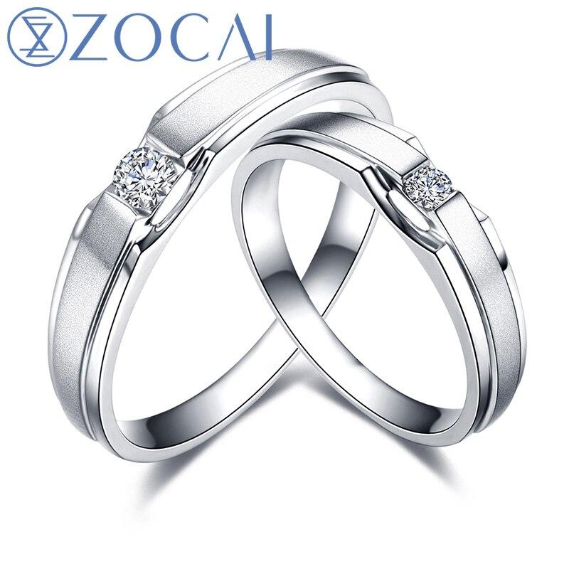 ZOCAI anneau réel 0.11 Ct certifié H/SI diamant bandes de mariage anneau son et son diamant bague 18 K or blanc Q00023AB