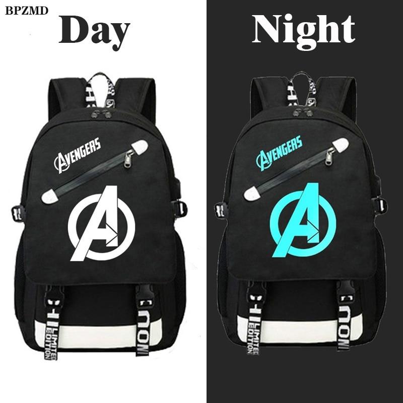 Avengers Luminous Backpack Canvas Print Rucksack Laptop Backpack School For Boys USB Charging Travel Student Backpack Bag
