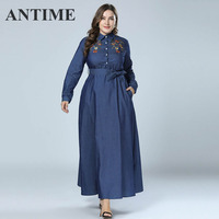 ANTIME Elegant Autumn Chic Floral Dresses Long Sleeve A Line Women Casual Denim Lapel Single breasted Embroidery Maxi Dresses
