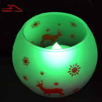Forsted Glass Holder with Color Changing LED Tealight Candle Flameless Color Changing LED Candles for Home Window Christmas